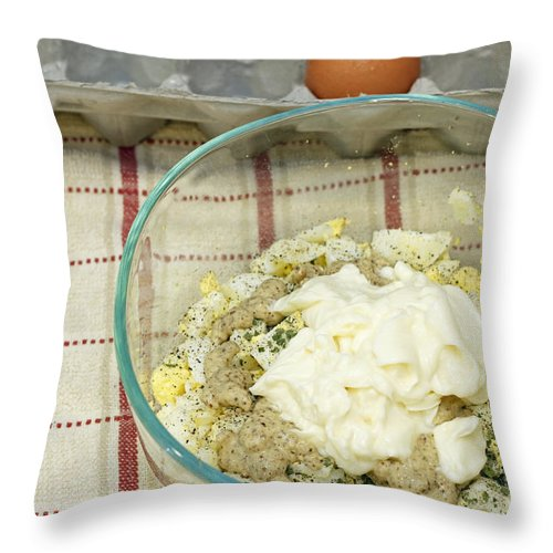 Food Throw Pillow featuring the photograph Egg Salad Ingredients by Lee Serenethos