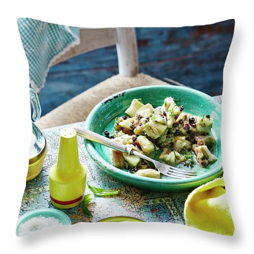 Temptation Throw Pillow featuring the photograph Eggplant, Mint And Sultana Salad by Brett Stevens