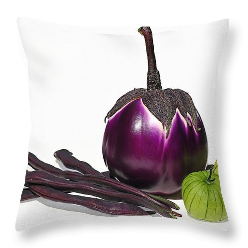 Eggplant Throw Pillow featuring the photograph Eggplant Tomatillos And Beans by Barbara McMahon