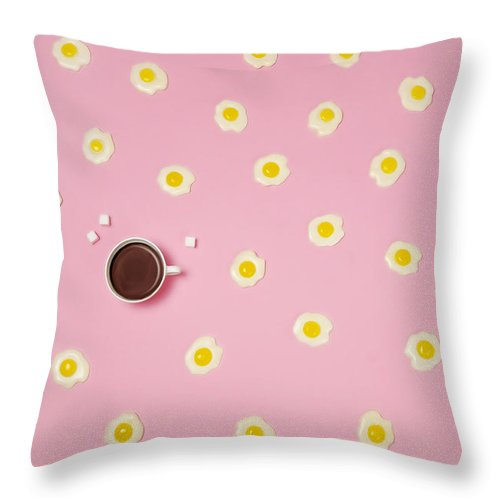 Breakfast Throw Pillow featuring the photograph Eggs With Coffee Cup On Pink Background by Juj Winn