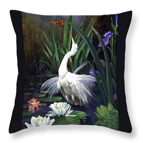 Landscape Throw Pillow featuring the painting Egret And The Butterfly by Edward Skallberg