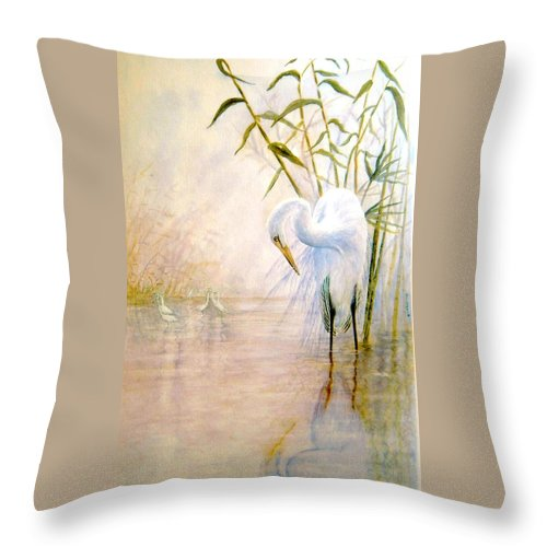 Eret; Bird; Low Country Throw Pillow featuring the painting Egret by Ben Kiger