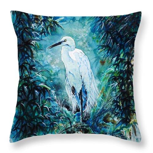 Egret Throw Pillow featuring the painting Egret by Zaira Dzhaubaeva