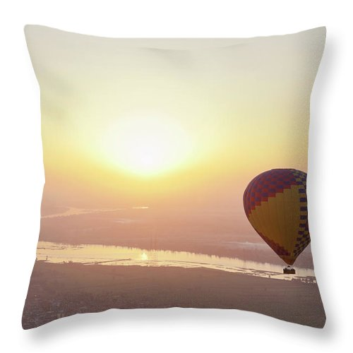 Luxor Throw Pillow featuring the photograph Egypt, View Of Hot Air Balloon Over by Westend61