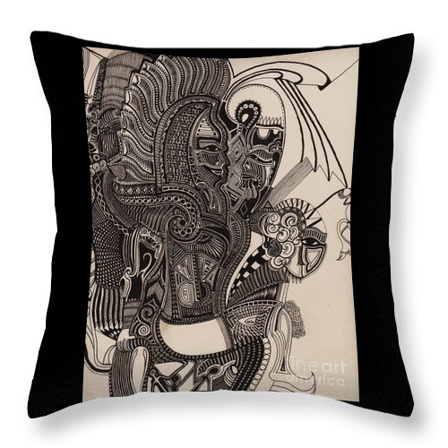 Pen Throw Pillow featuring the drawing Egypt Walking by Michael Kulick
