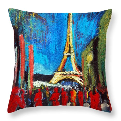 Eiffel Tower And The Red Visitors Throw Pillow featuring the painting Eiffel Tower And The Red Visitors by Mona Edulesco