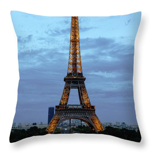 Eiffel Tower Throw Pillow featuring the photograph Eiffel Tower by Pravine Chester