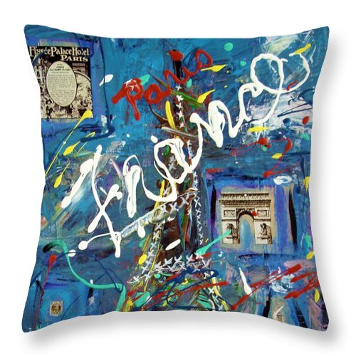 Abstract Throw Pillow featuring the painting Eiffel Tower by Venus
