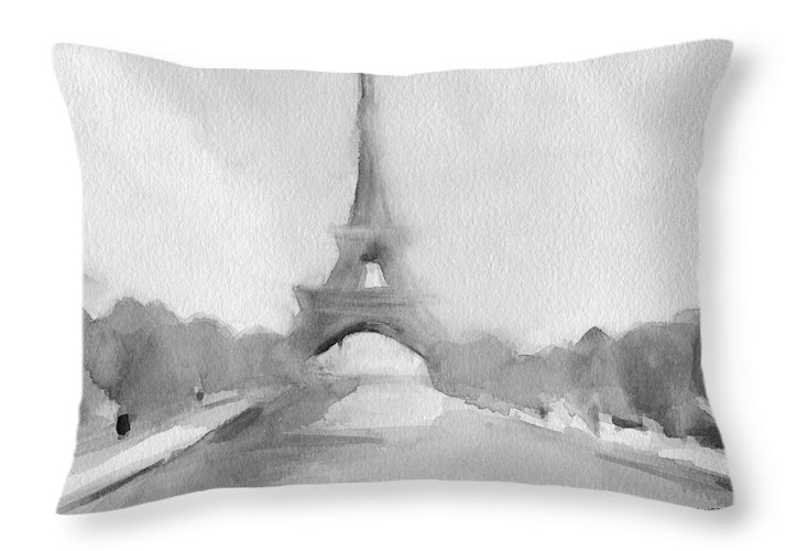 Paris Throw Pillow featuring the painting Eiffel Tower Watercolor Painting - Black and White by Beverly Brown Prints