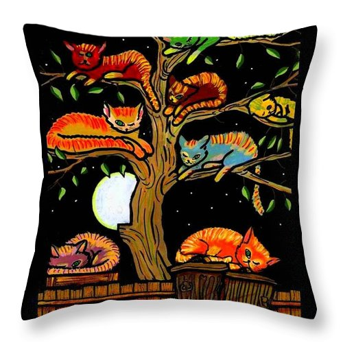 Cats Throw Pillow featuring the painting Eight Tree Cats by Jim Harris
