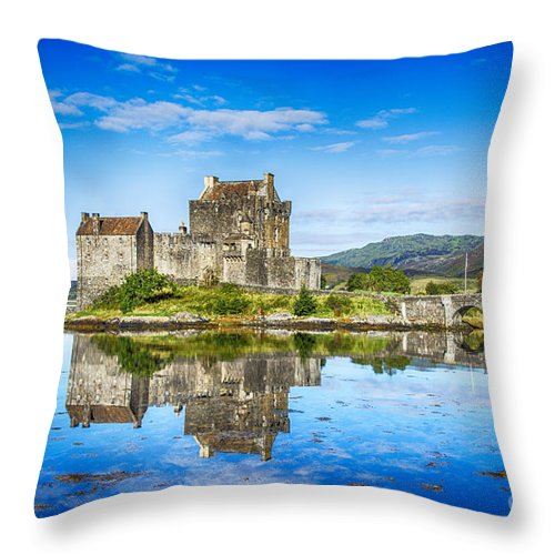 Eilean Donan Castle Prints Throw Pillow featuring the photograph Eilean Donan Castle Reflections 2 by Chris Thaxter