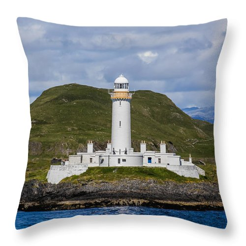 Eilean Musdile Lighthouse Throw Pillow featuring the photograph Eilean Musdile Lighthouse by Tom and Pat Cory
