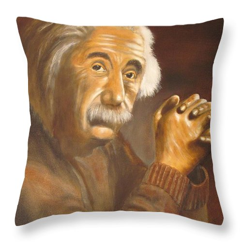 Oil Painting Throw Pillow featuring the painting Einstein - Original Oil Painting by Anthony Morretta