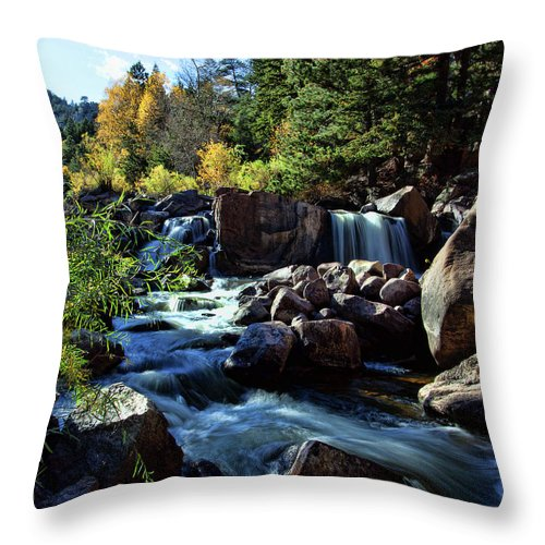 Autumn Colors Throw Pillow featuring the photograph El Dorado Falls by Jim Garrison