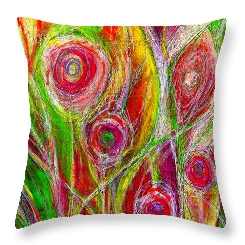 Laura Gomez Art Throw Pillow featuring the painting El Jardin De Laura - Laura's Garden by Laura Gomez