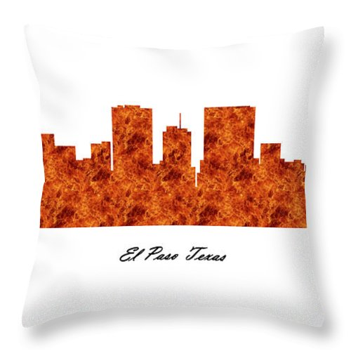 Fine Art Throw Pillow featuring the digital art El Paso Texas Raging Fire Skyline by Gregory Murray