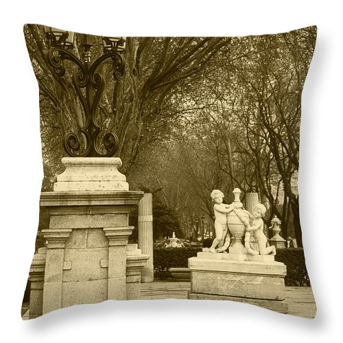 Spain Throw Pillow featuring the photograph El Prado Boulevard Madrid Spain by James Brunker