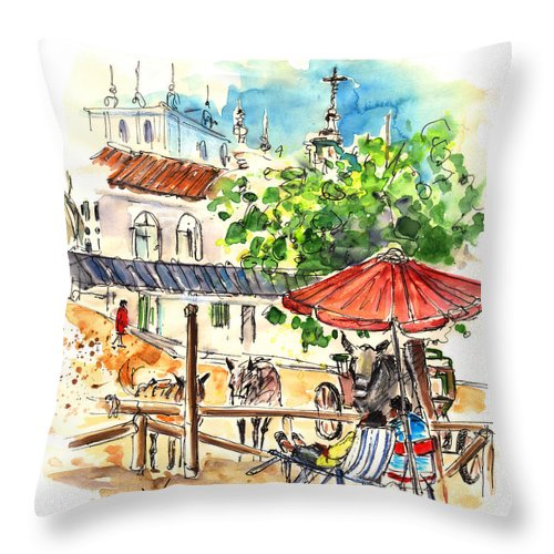 Travel Throw Pillow featuring the painting El Rocio 01 by Miki De Goodaboom