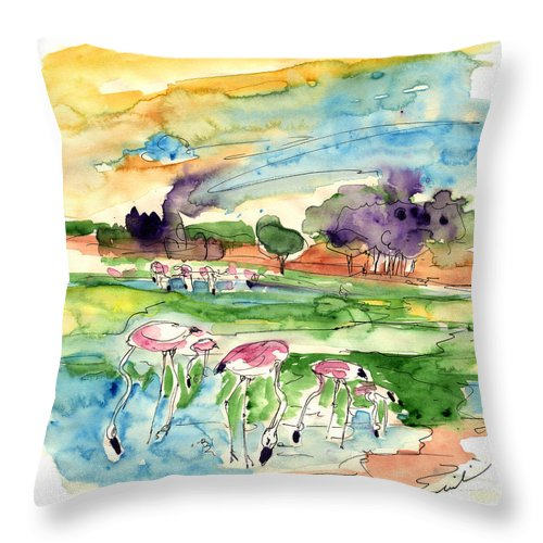Travel Throw Pillow featuring the painting El Rocio 09 by Miki De Goodaboom