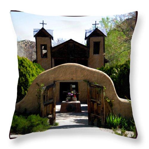 Santuario De Chimayo Throw Pillow featuring the photograph El Santuario De Chimayo by Kurt Van Wagner