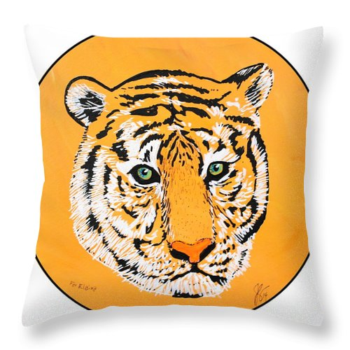 Tiger Throw Pillow featuring the painting Elainas Tiger by Jim Harris
