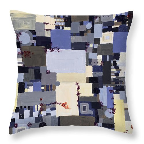 Grid Throw Pillow featuring the painting Elastic Dialog by Regina Valluzzi