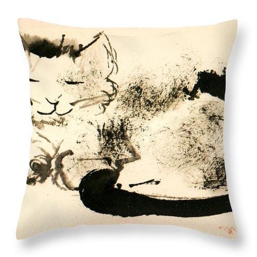 Cat Throw Pillow featuring the painting Elden Smiling by Janet Gunderson