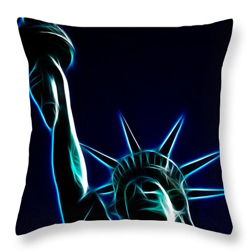 Statue Of Liberty Throw Pillow featuring the photograph Electric Liberty by Tommy Anderson