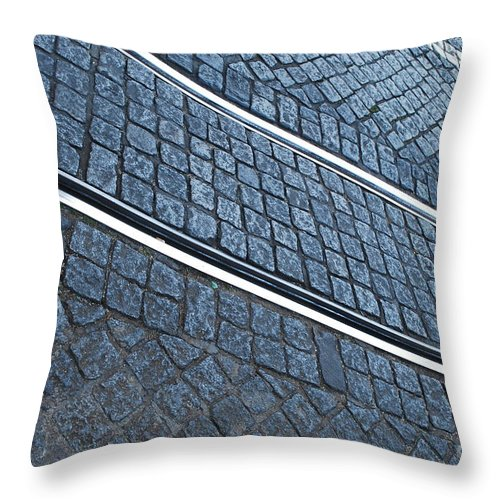 Rail Throw Pillow featuring the photograph Electric Rail On Portuguese Traditional Pavement by Luis Alvarenga