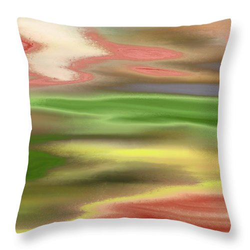 Abstract Throw Pillow featuring the painting Electric Sunset by Lenore Senior