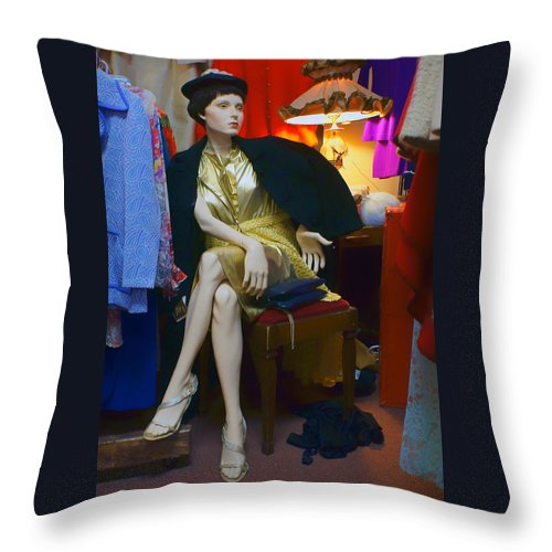 Fashion Throw Pillow featuring the photograph Elegance - Retro Mannequin by Nikolyn McDonald