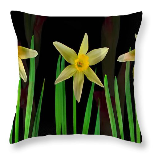 Sensual Throw Pillow featuring the mixed media Elegant Yellow Flowers On Green Shoots by Navin Joshi