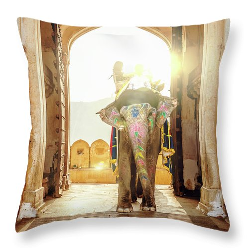 Working Animal Throw Pillow featuring the photograph Elephant At Amber Palace Jaipur,india by Mlenny