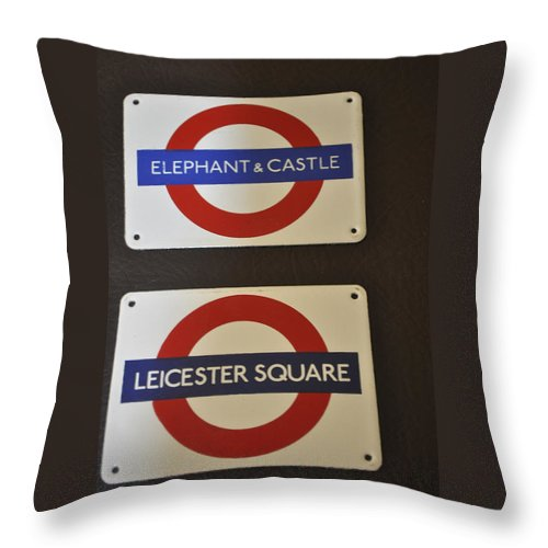 Sign Throw Pillow featuring the photograph Elephant Castle And Leicester Square by Jay Milo