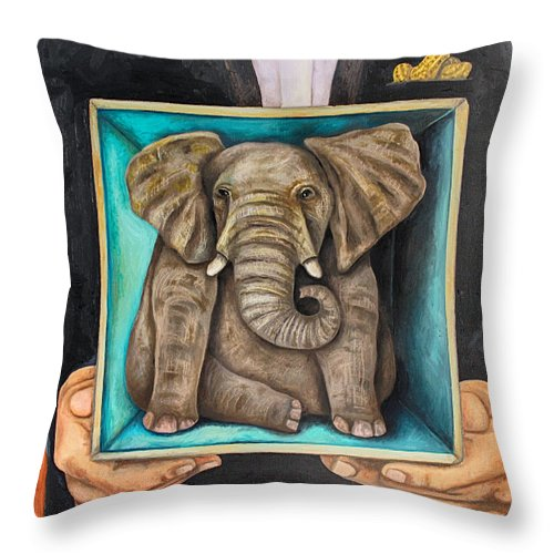 Elephant In The Room Throw Pillow featuring the painting Elephant In A Box Edit 2 by Leah Saulnier The Painting Maniac