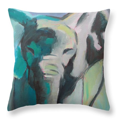 Elephant Throw Pillow featuring the painting Elephant by Liesbeth Verboven