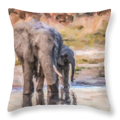 African Elephant Throw Pillow featuring the digital art Elephant Mother And Calf by Liz Leyden