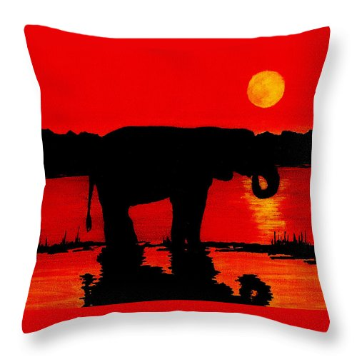 Wildlife Throw Pillow featuring the painting Elephant Silhouette African Sunset by Michael Vigliotti
