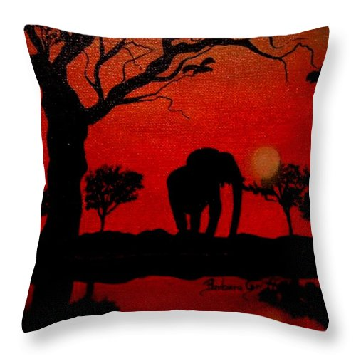 Elephant Silhouette At Sundown Throw Pillow for Sale by Barbara Griffin