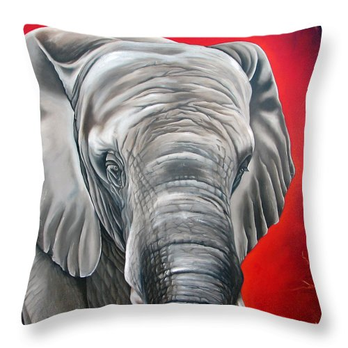 Elephant Throw Pillow featuring the painting Elephant Six Of Eight by Ilse Kleyn