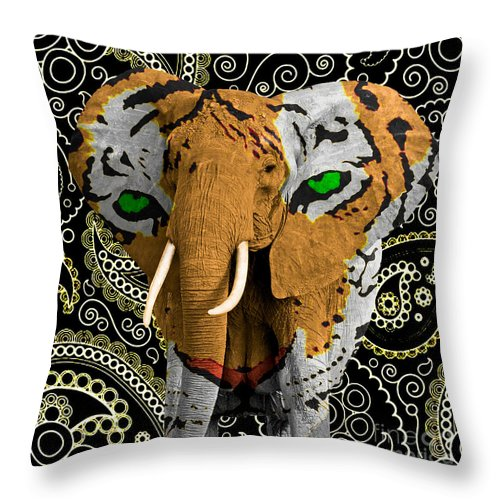 Elephant Throw Pillow featuring the photograph Elephant Tiger by Gary Keesler