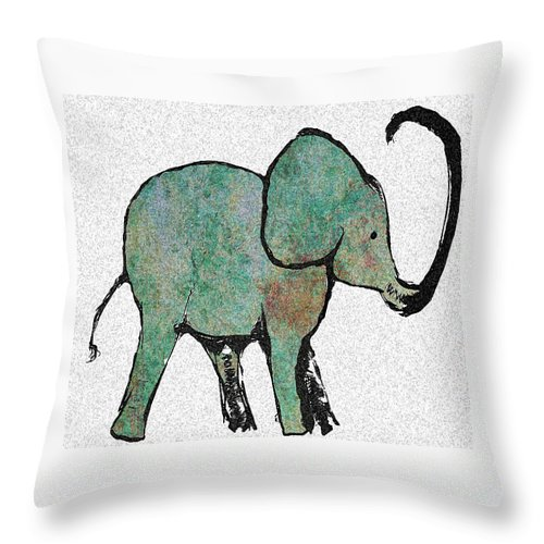 Elephant Throw Pillow featuring the digital art Elephant Water Color by Ellsbeth Page