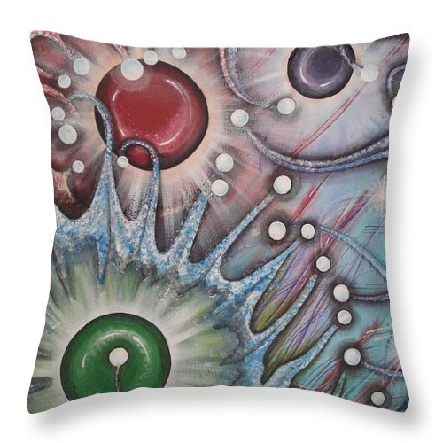Abstract Throw Pillow featuring the painting Eleventh Dimension by Krystyna Spink