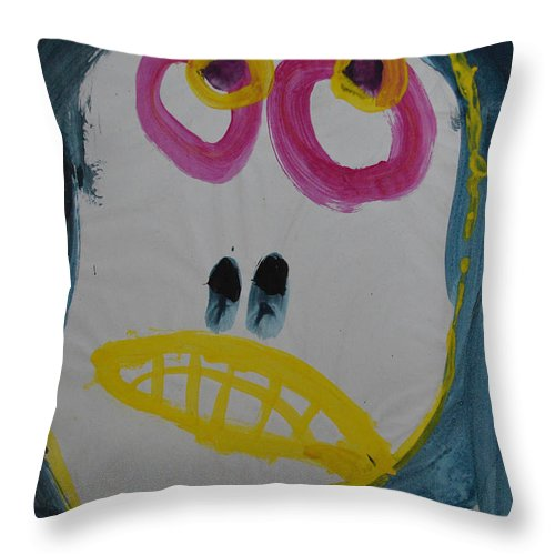 Abstract Outsider Raw Modern Folk Portrait Face Girl Woman Smile Throw Pillow featuring the painting Elisabeth by Nancy Mauerman