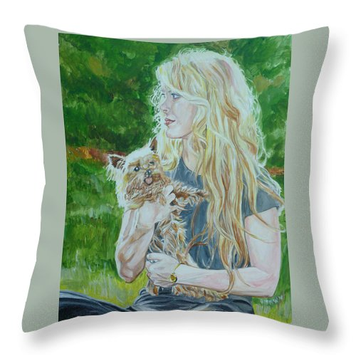 Ccm Throw Pillow featuring the painting Elizabeth South And Ginger by Bryan Bustard