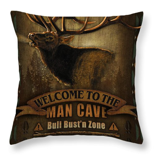 Joe Low Throw Pillow featuring the painting Elk Man Cave Sign by JQ Licensing