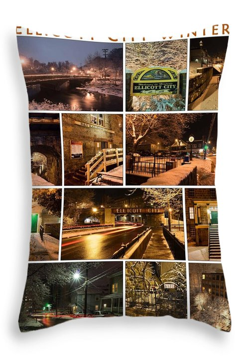 Throw Pillow featuring the photograph Ellicott City In The Snow by Dana Sohr