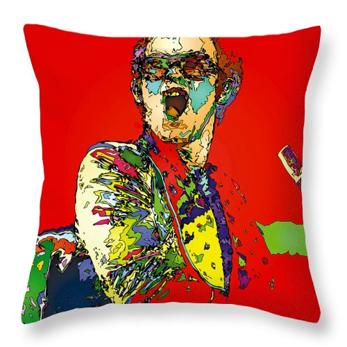 Elton John Throw Pillow featuring the painting Elton in Red by John Farr