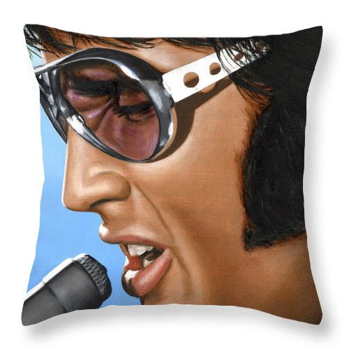 Elvis Throw Pillow featuring the painting Elvis 24 1970 by Rob De Vries
