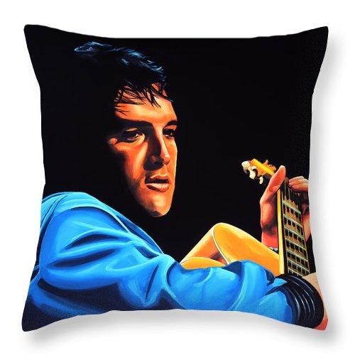Elvis Throw Pillow featuring the painting Elvis Presley 2 Painting by Paul Meijering
